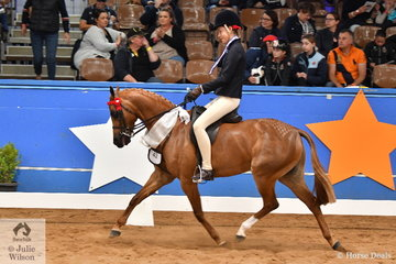 Jessica Callus representing NSW rode her, 'Mirinda Princess Perfect' to third place in the Child's Small Pony Championship on day one of the 2019 Ego Sun Sense Australasian Show Horse and Rider Championships.
