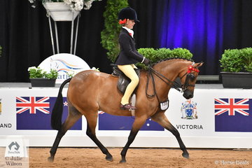 Annabelle Richardson was showing her talent today and claimed the Child's Medium  Pony Championship riding Maddy Ginn's very successful, 'Harrington Park Symphony'.