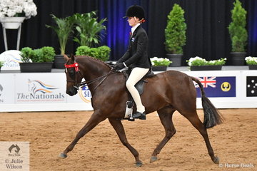 Another successful Victorian rider, Ebonie Lee was having a successful day and is pictured aboard, Cassandra Fasan-Jones' 'Kyandra Picturesque' that claimed the Child's Medium Pony Runner Up award.
