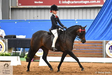 Tiana Schaeffer representing South Australia rode Abby Clark's successful, 'Drumeden Chorus Line' to take third place in the Child's Medium Pony Championship.