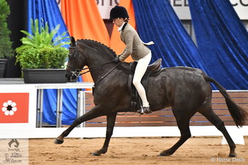 Becky Roberson representing NSW rode Kate Treneman-Duncan's super successful, 'Owendale Rembrandt' to third place in the Child's Large Show Hunter Pony Championship on day one of the 2019 Ego Sun Sense Australasian Show Horse and Rider Championships.