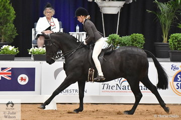 Emma Hutchinson from NSW claimed the Child's large Show Hunter Pony Runner Up award with her, 'SP Exclusive Footage'.