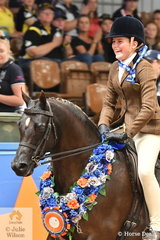A delighted, Ella O'Doherty riding for Victoria rode Rebecca Gerber's successful, 'Loriot Breaking Dawn' to claim the Child's Large Show Hunter Pony Championship.