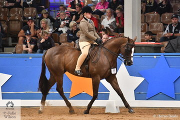 Emily Lord riding for NSW is pictured aboard , Tia Richardson's, 'Pearlz' during the Child's Small Show Hunter Hack Championship on day one of the 2019 Ego Sun Sense Australasian Show Horse and Rider Championships.