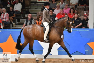 Riding for South Australia, Dallas Merry rode her mother, Andrea Merry's well performed Warmblood, 'Quantador' by Quarterback to claim the Child's Small Show Hunter Hack Runner Up award.
