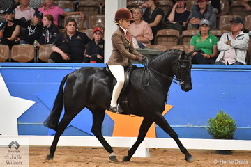 Isabella Cross-Winston riding for Queensland is pictured aboard Kirsty Harper-Purcell's, 'Clemson Tuxedo' during the Child's Small Show Hunter Galloway Championship.