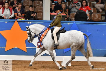 Riding for Queensland, Bronte Raymont rode Kylie Raymont's Victorian bred, 'Nawarrah Park Belladonna' to take out the Child's Small Show Hunter Pony Runner Up award.