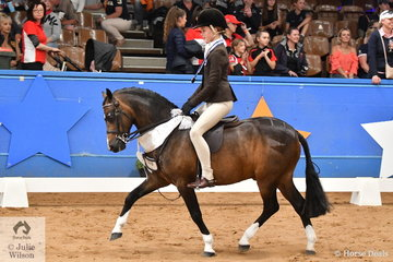 Welsh Ponies dominated the Small Show Hunter Championship today and representing Victoria, Poppi Plumb rode Genevieve Round's charming, 'Dalgangle Piccadilly' to claim third place in the Child's Small Show Hunter Pony Championship.