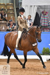 Representing Victoria Ebonie Lee rode  Holly Ticehurst's well performed, 'Terra Felix XL' to  take third place in the in the Child's Large Show Hunter Galloway Championship.