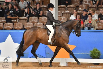 Representing NSW, Grace Tyson is pictured aboard her, 'Ashwood Park Swish Fysche' that took third place in the Child's Large Show Hunter Hack Championship.