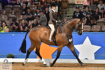 Representing South Australia, Kate Kyros rode Alanna Richards', successful, 'Ribbleton France' to claim the Child's Large Show Hunter Hack Runner Up award.