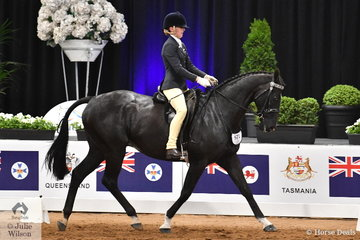 Representing New Zealand, Natasha Waddell is pictured aboard Shona Smith's, 'Just Hollywood' during the Rider 15-17 Years Championship.