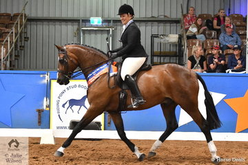 Riding for South Australia, Andrea Merry rode her lovely, 'Quantador' by Quarterback to claim the Small Show Hunter Hack Runner Up award.