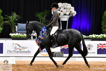 Representing NSW, Jess Stones rode Sara Osaulenko's, 'Gentry Park Take Note' to claim the Small Show Hunter Galloway Championship on the final day of the 2019 Ego Sunsense Australasian Show Horse and Rider Championship.