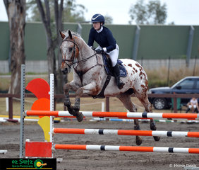 The beautiful appaloosa Emmaville Spot On and her rider Rachel Peel jumped a lovely first round in Class 32a the 90cm - 1m class on the last day of the 2019 Sydney Summer Classic.