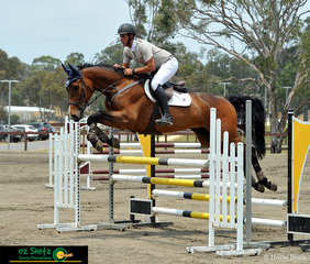 Flying over the triple bar in the open 1.10m was Cosmerex Coffee Vinchino with Clinton Van Der Sanden in the saddle.