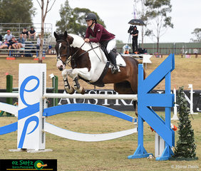 Beautiful form over the ESP jump in the Super Junior Final was Kelly Bridgland riding her horse Showtym Burrow at the 2019 Sydney Summer Classic.