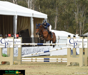Amelia Douglass representing Team Chatham Park in the jump off round of the 2019 Australian Jumping Teams League riding Sirius Du Granit.