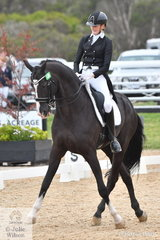 After winning the Rider 12-14 Years Championship of the Australasian Show Horse and Rider Championships, last Friday Jessica Dertell won the  FEI Intermediate B today riding Sabble Farm's imported stallion Zanzibar, scoring 66%.