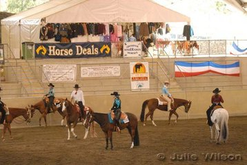 Competitors warm-up for the $750 Amateur Ltd Western Pleasure Stakes sponsored by Hobby Horse Clothing and Horsemans Trading Post.