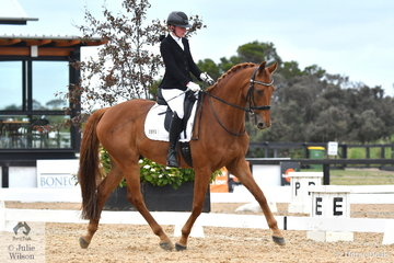 Phoebe Roche is pictured aboard the successful dressage horse, 'Saddle Up Romper Stomper' during the Grade 4 Para Equestrian Freestyle.