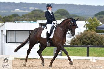 Georgia Haythorpe rode , 'LA Joy Eden ' to claim the Medium Championship on the final day of the Serata Equine Victorian Dressage Festival.