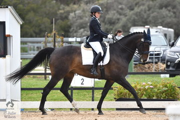 Claire Arnold is pictured aboard the Victorian bred, 'Mayfield With Lace' during the Medium competition  on day four of the Serata Equine Victorian Dressage Festival.