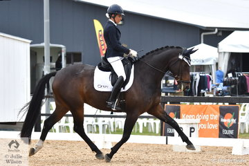 Deborah Oliver is pictured aboard, 'Highfields Bella Vita' during Round 1 of the Seven Year Old Young Horse Championships.