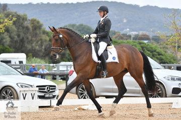 Successful South Australian dressage rider and trainer, Ruth Schneeberger rode , 'Miramar Serene' to claim the Medium Reserve Championship.