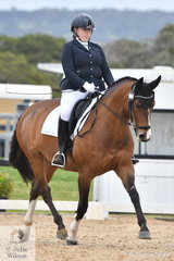Holly McMartin is pictured aboard her, 'Rascalina' during the Medium Championship on day four of the Serata Equine Victorian Dressage Festival.