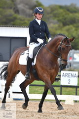 Clare Porz is pictured during the Medium Championship aboard 'Lenya'.