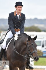 Marvin Smink looks pleased with 'Haya' after their winning ride in the Grand Prix Special on day four of the Serata Equine Victorian Dressage Festival.