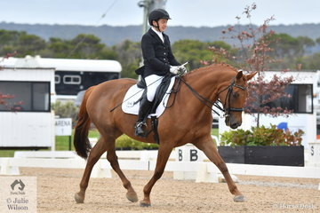 Wendy Kelly is pictured aboard her, 'A Heaven Sent' during the Medium Championship on day four of the Serata Equine Victorian Dressage Festival.