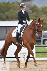 Tamara Campain and 'Bon Chance' are pictured during the Medium Dressage Championship.