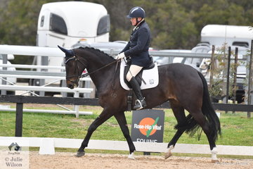 Well known Victorian equestrian personality, Ian Balfour is pictured aboard, 'Bloomfield Forrest Gump' during the Medium Dressage Championship.
