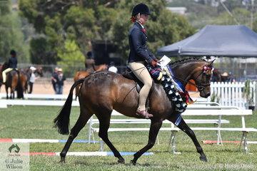 Alannah Burns rode her own, Helen Burns and Maryjane Mitton's, 'Uhavta Nice 'N' Naughty' to claim the First Season Large Pony Championship.