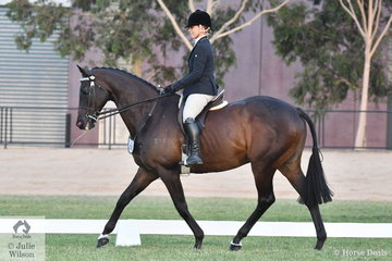 Michelle Paynter is pictured aboard her very well performed, 'Chesta Piniton' also known as the multi award winning, DP Amazing that made Top Ten in the Racing Victoria Off The Track Championships.