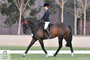 Ayja Grigg is pictured aboard her, 'Lamister', show name, Mister Majestic during the Racing Victoria Off The Track Championships.