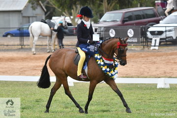 Annabelle Richardson is becoming quite a pro. in the show ring and today rode her mother, Emma Richardson's, 'Braeburn Park Spring Dance' to claim the 2020 VAS Ltd Open Small Pony Championship.