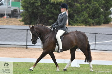 Meg Small rode Jessica Payne's, 'Corvan Park Cora Lynn' to fifth place in the class for Child's Show Hunter Pony 13-14hh.