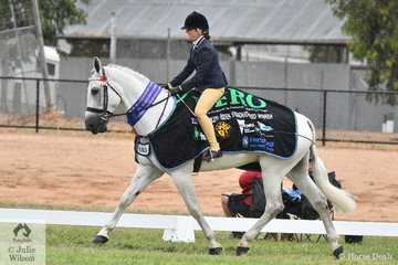 Keira Barton rode the Darcy Park Show Standardbred's nomination, 'Darcy Park White Whisky' to win the class for Child's Ridden Standardbred Rider 12-18 Years. This result earned them a run in the Hero Series Final.