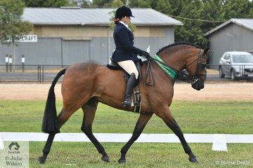 Rebecca Dilys Groen claimed the Show Hunter Hack Reserve Championship with her 'Warrawee Masterpeece'.
