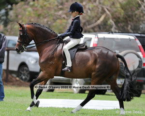 "Taylor Shute placed 2nd in the Rider 9 years and under 12, riding ""Cimeron Poprock"""