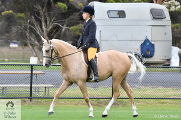 Michelle Johnson rode her, 'Milaan Kikachu' to win the class for Ridden Five Year Old Galloway.