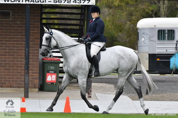 Danielle Jones rode her, 'Virtuoso' to take third place in the class for Racing Victoria OTT Horse Over 16hh.