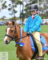 Chelsea Dalton representing the Wonthaggi Pony Club rode her, 'Topaz' to win the class for Local Ridden Pony 12-14hh.