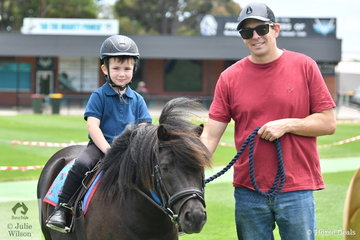 At his first ever show and with some help from dad, Steve, Harry Williams won the class for Tiny Tot Rider Under 7 Years riding , 'Rockstar'.
