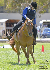 Karen Smith and Delpine Imperial Reign perform a side pass in the Amateur Trail class