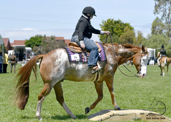 Kerri Anne Hobbs riding Shameelicious in the Rider with Disabilities trail class