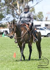 Marlene Holahan riding Freedom Patty Brown in Improver Western Pleasure.